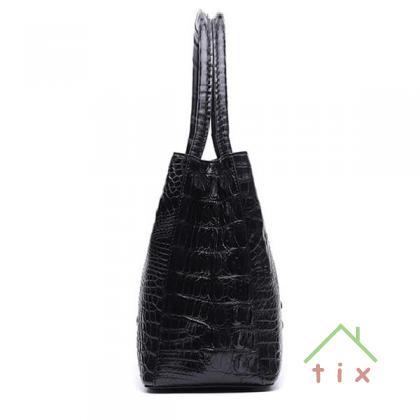 Женская сумка 826 black натуральная кожа крокодила