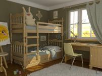Двухъярусная кровать из массива Соня с ящиками