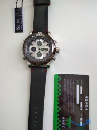 Большие Часы АМСТ-3022 с кожаным...