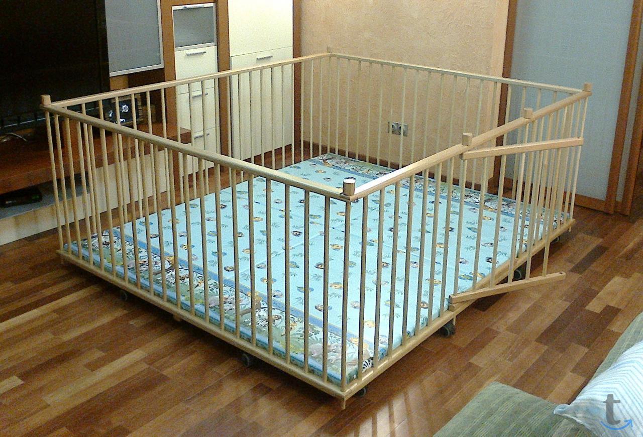 Большой детский деревянный манеж 1,7х2,0м с калиткой