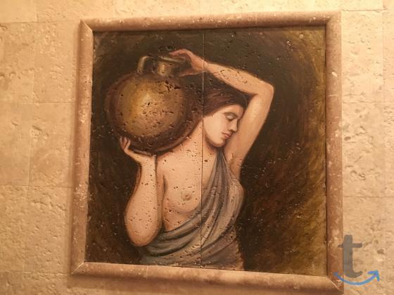 Картины из натурального камня и роспись на травертине