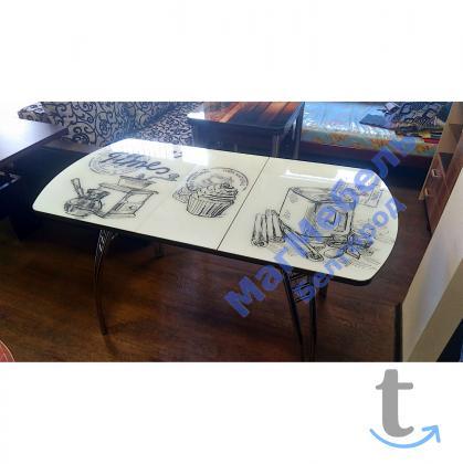 Стол обеденный раскладной с фотопечатью Кофе Тайм