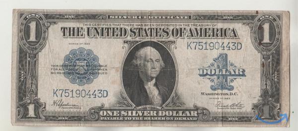 Старинная банкнота США 1 доллар 1923 Оригинал