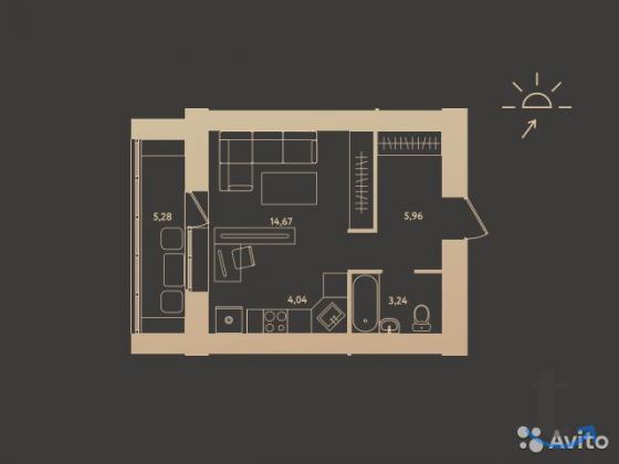 1-к квартира, 30.6 м², 13/1... в городеБарнаул