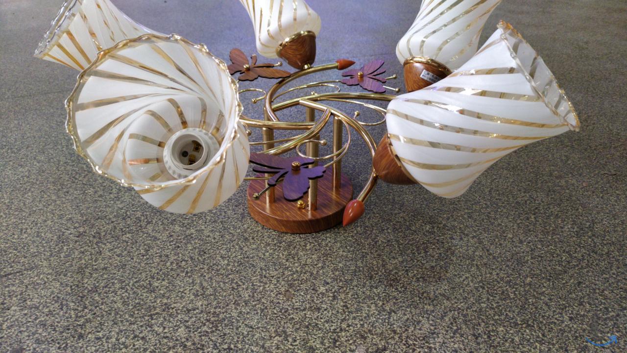Люстра пяти рожковая с бабочками