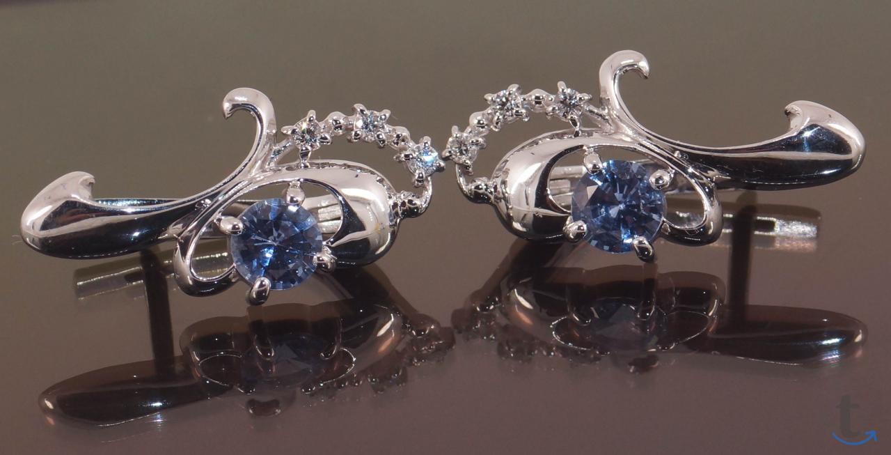 Серьги с голубыми Сапфирами и бриллиантами