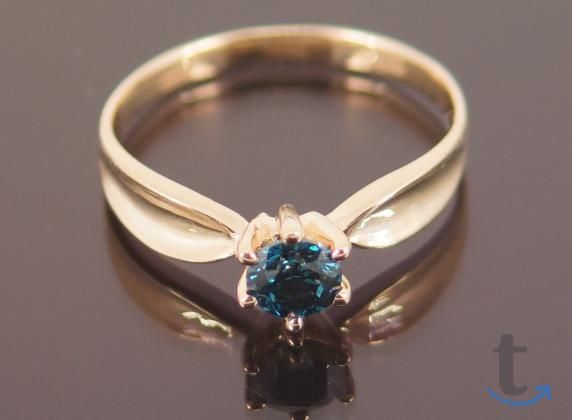 Кольцо золотое с сине-зелёным бр...