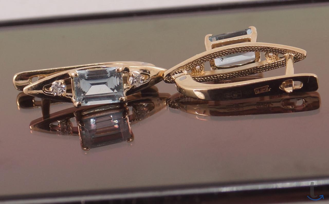Серьги с Аквамаринами и бриллиантами.