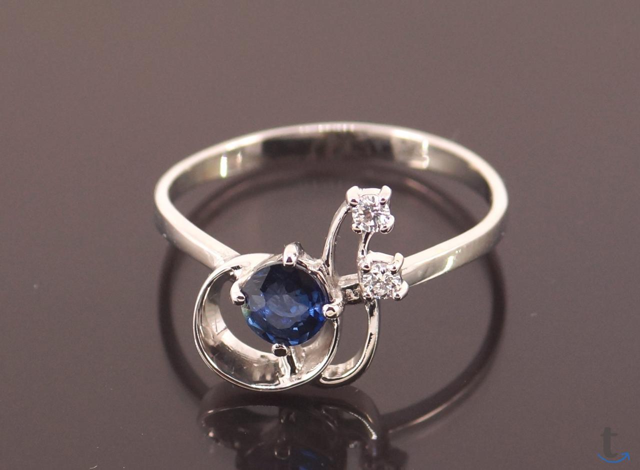 Золотое кольцо с Сапфиром и брил...