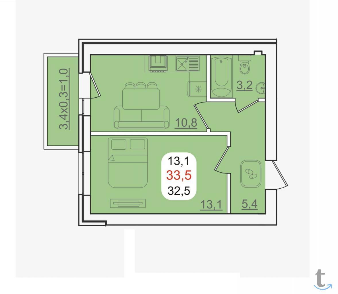 1 комнатная квартира, Новая адыгея, ул. Бжегокайская
